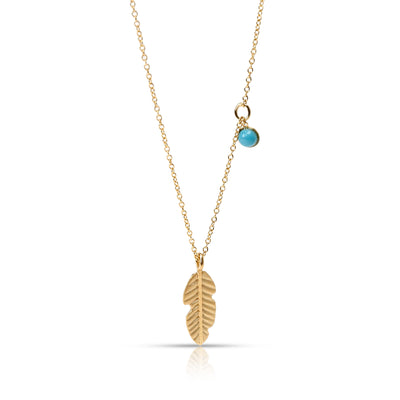 Caterina B Feather & Blue Turquoise Dot Pendant in 18KT Yellow Gold