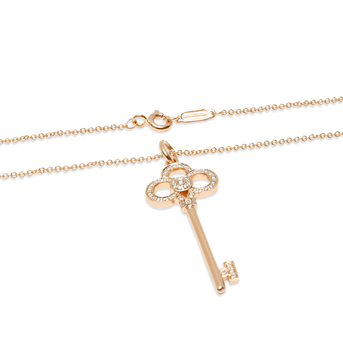 Tiffany & Co. Crown Key Diamond Pendant in 18KT Rose Gold 0.13 CTW