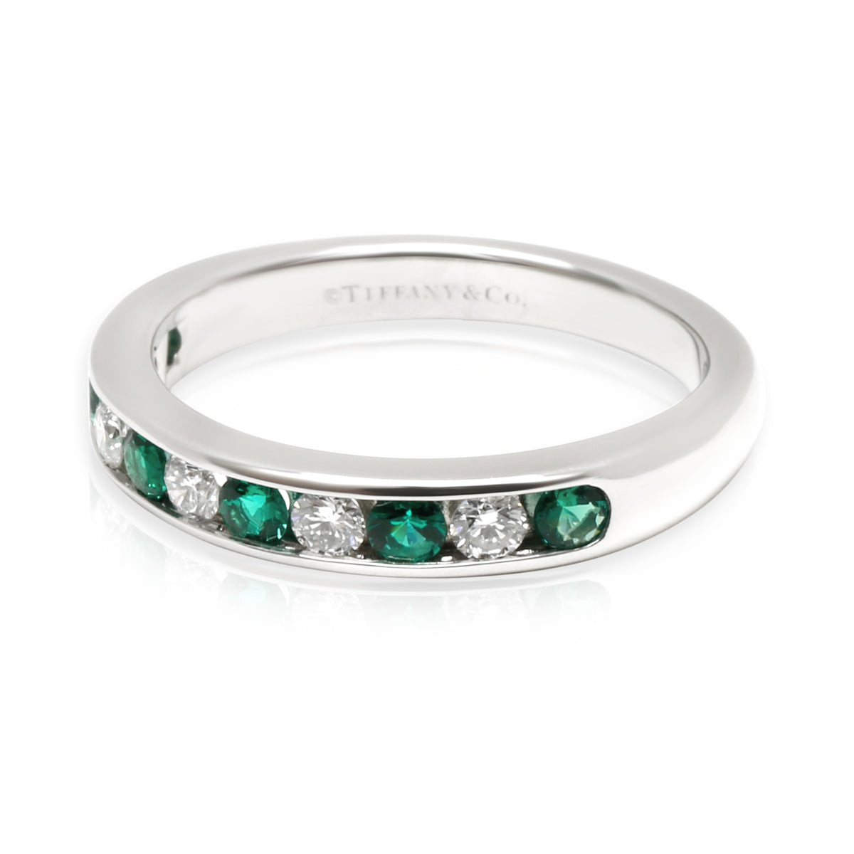 Tiffany & Co. Channel Set Diamond & Emerald Band in Platinum 0.15 CTW