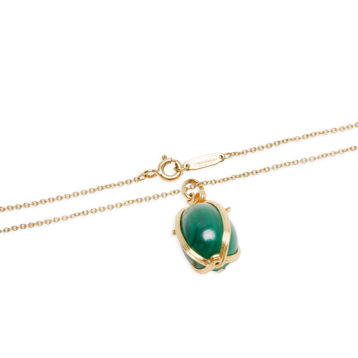 Tiffany & Co. Schlumberger Malachite Egg Charm Pendant in 18K Yellow Gold