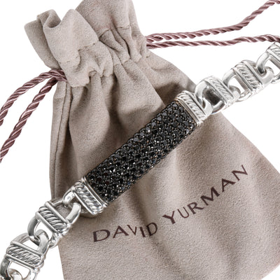 David Yurman Cable Link ID Black Diamond Men's Bracelet Sterling Silver 3.50 CTW