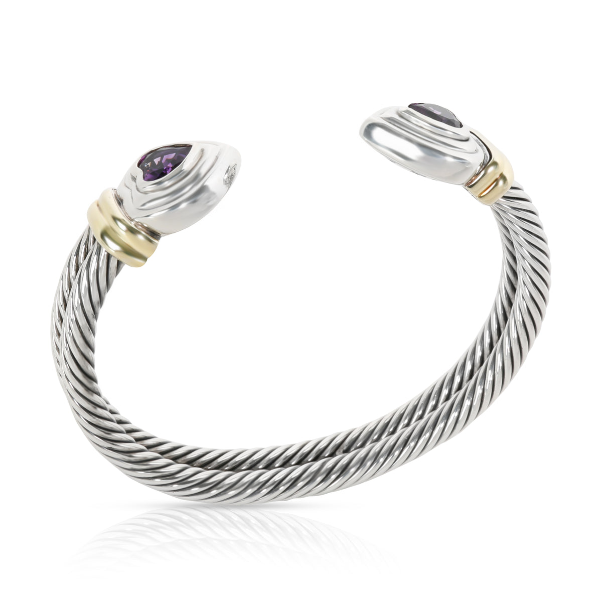David Yurman Double Cable Heart  Amethyst Cuff in  Sterling Silver