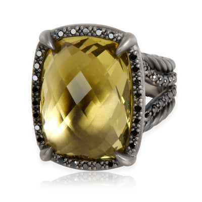 David Yurman Chatelaine Citrine Diamond Ring in Blackened Sterling Silver 0.6CTW
