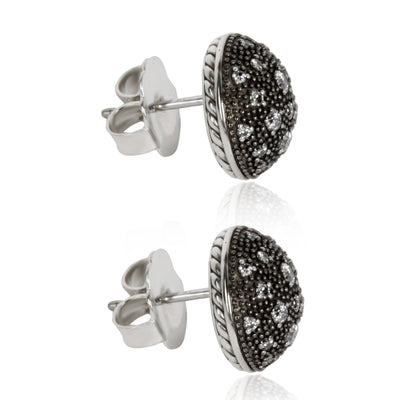 David Yurman Midnight Melange Diamond Stud Earring in  Sterling Silver 0.75 CTW