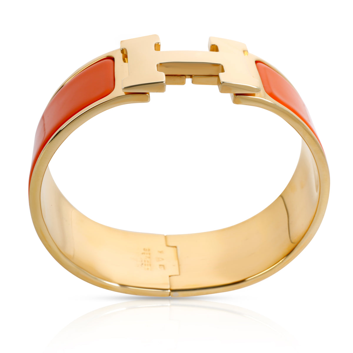 Hermes Clic Clac H Orange Bracelet with Gold Plated Hardware
