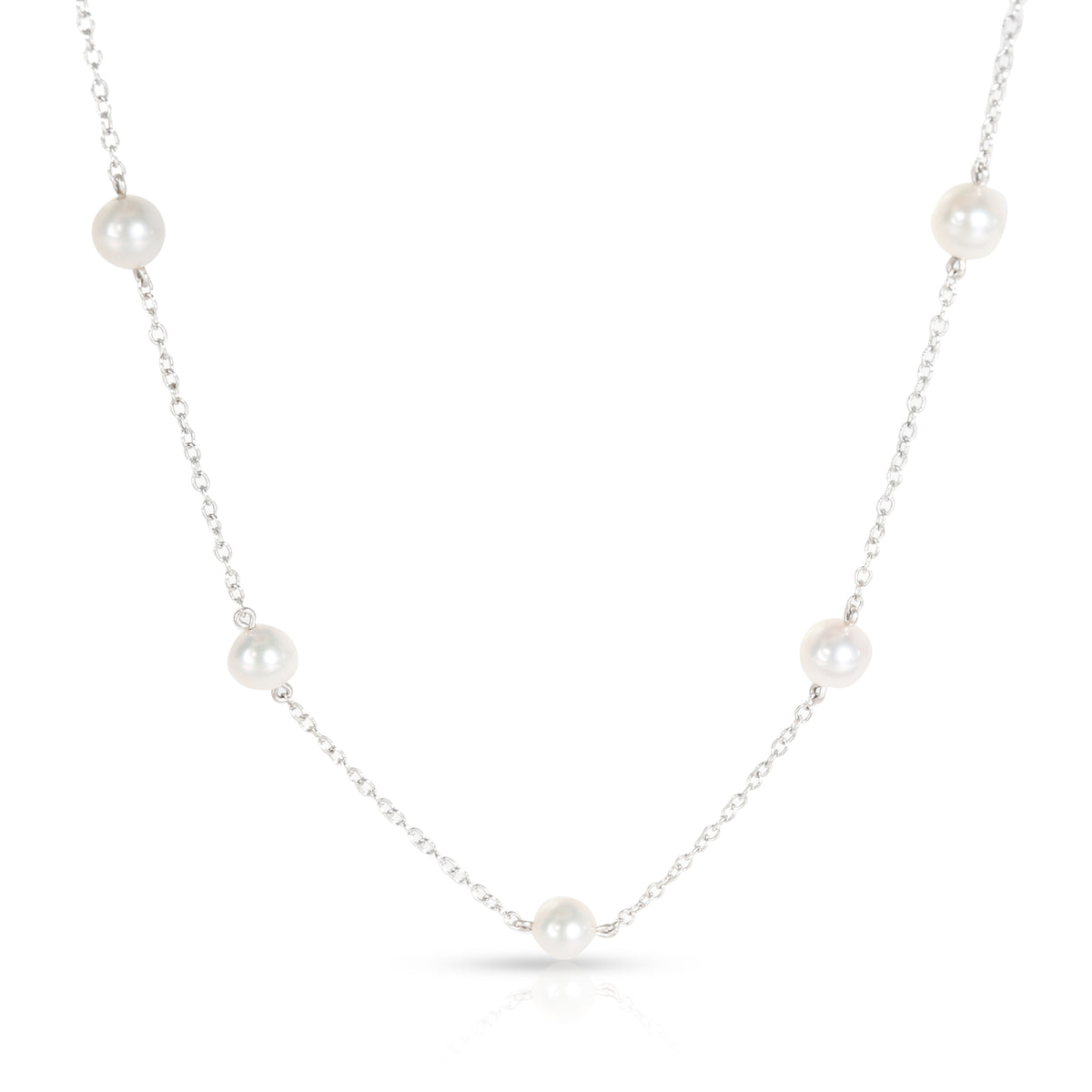 Mikimoto Station Collection Pearl Necklace in 18K White Gold