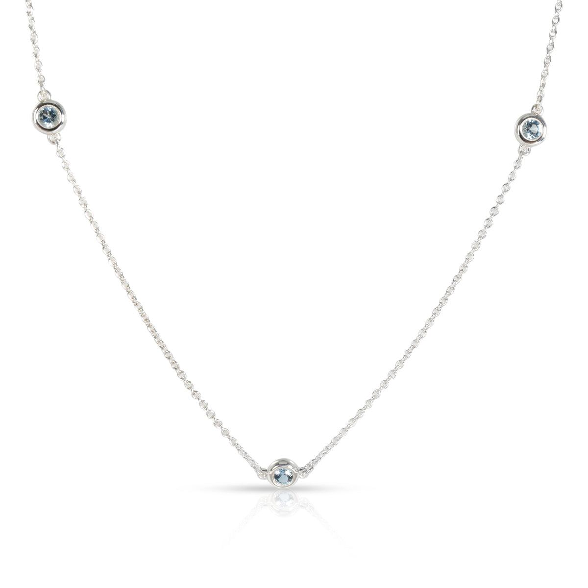 Tiffany Elsa Peretti Color by the Yard Aquamarine Necklace in Sterling Silver