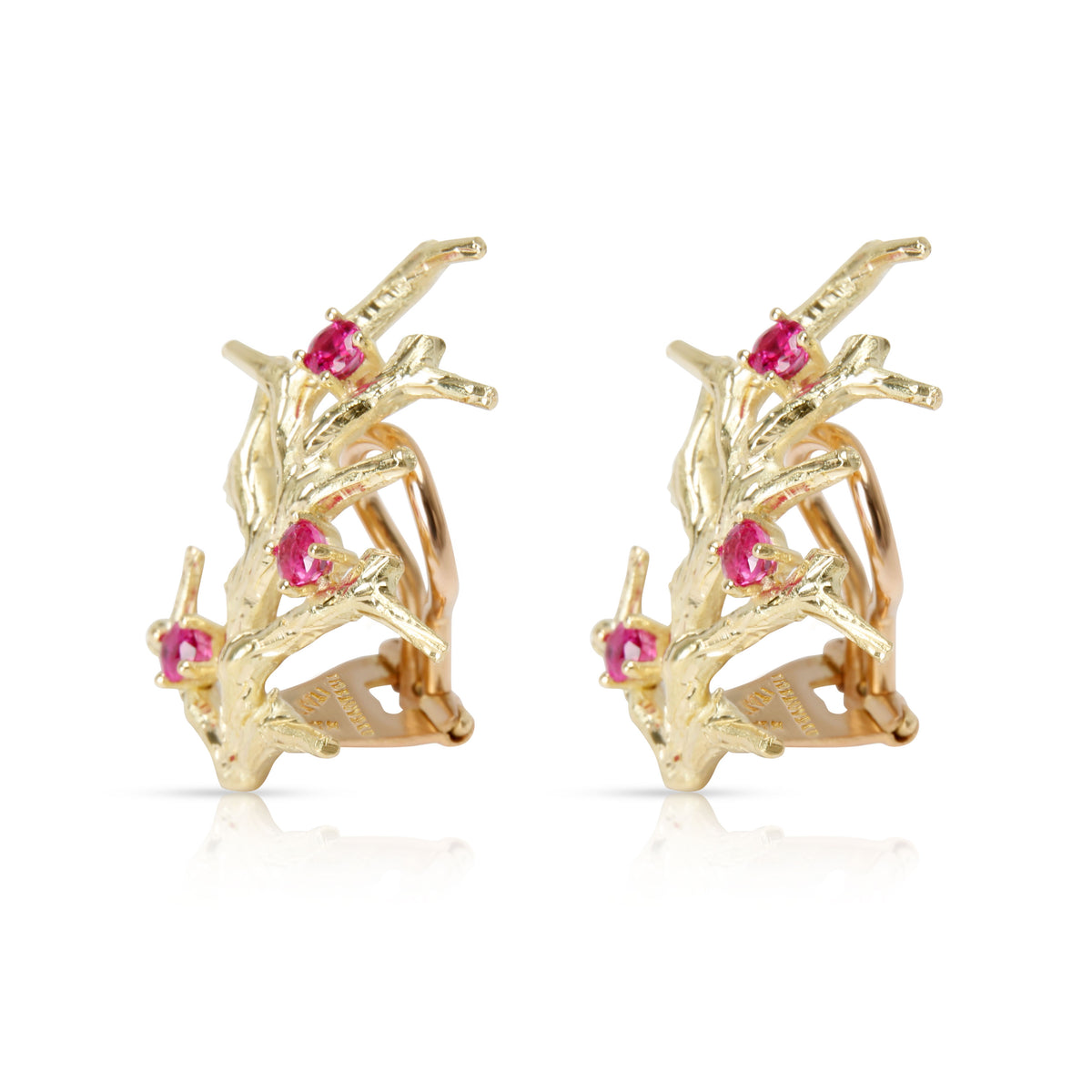 Vintage Tiffany & Co. Coral Pink Sapphire Earrings in 18K Yellow Gold