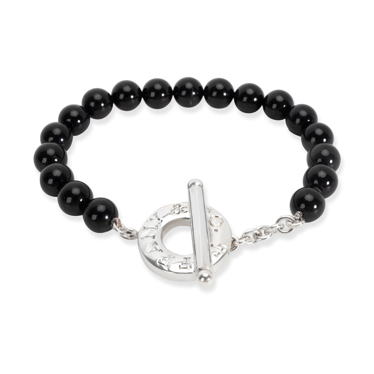 Tiffany & Co. Black Onyx Bead Bracelet in Sterling Silver