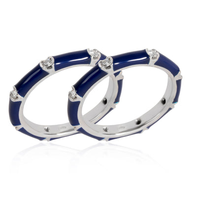 Farah Navy Blue Enamel Diamond Ring in 18KT White Gold 0.33 CTW ( Set of 2)