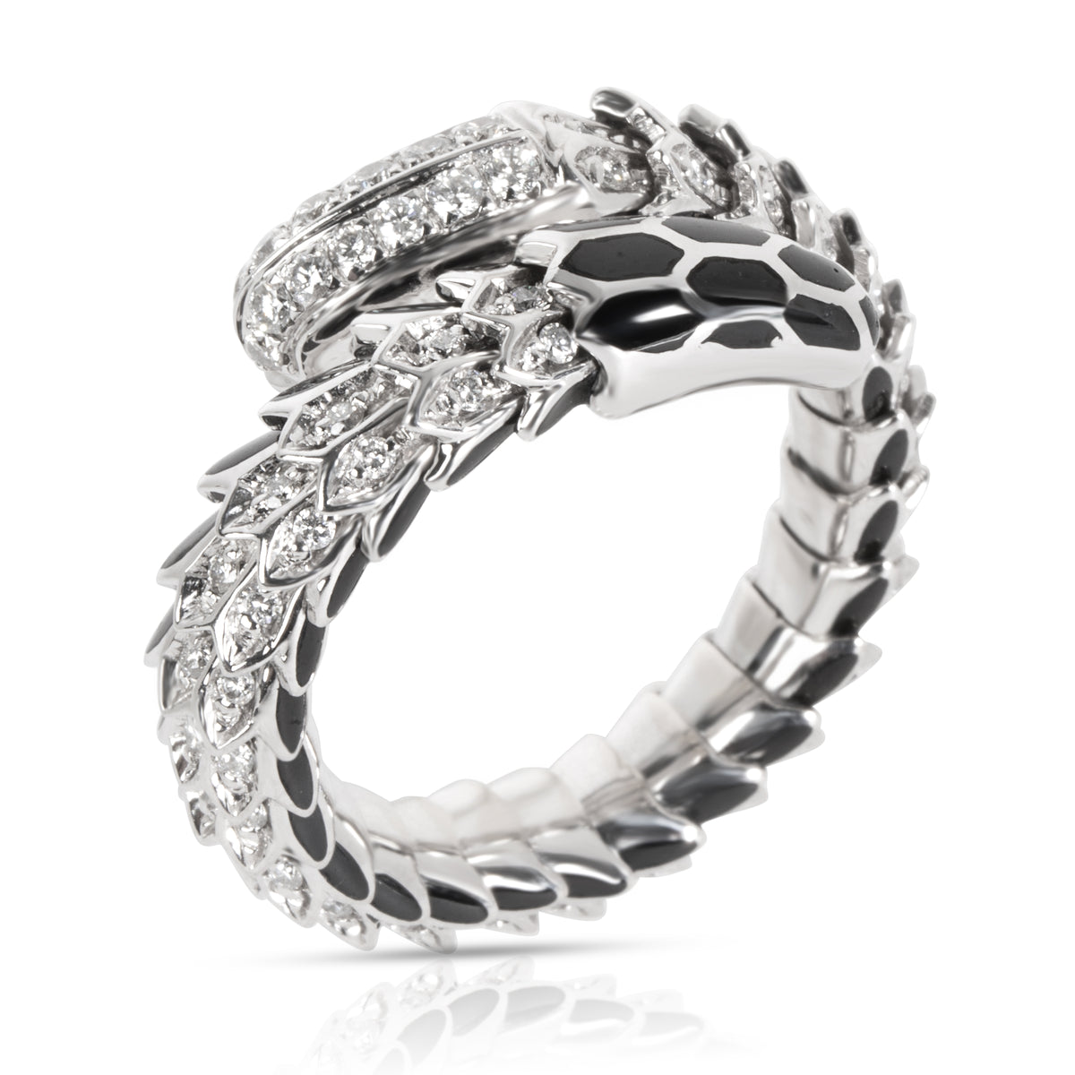 Roberto Coin Black Enamel & Diamond Cobra Ring in 18KT White Gold 0.5 CTW