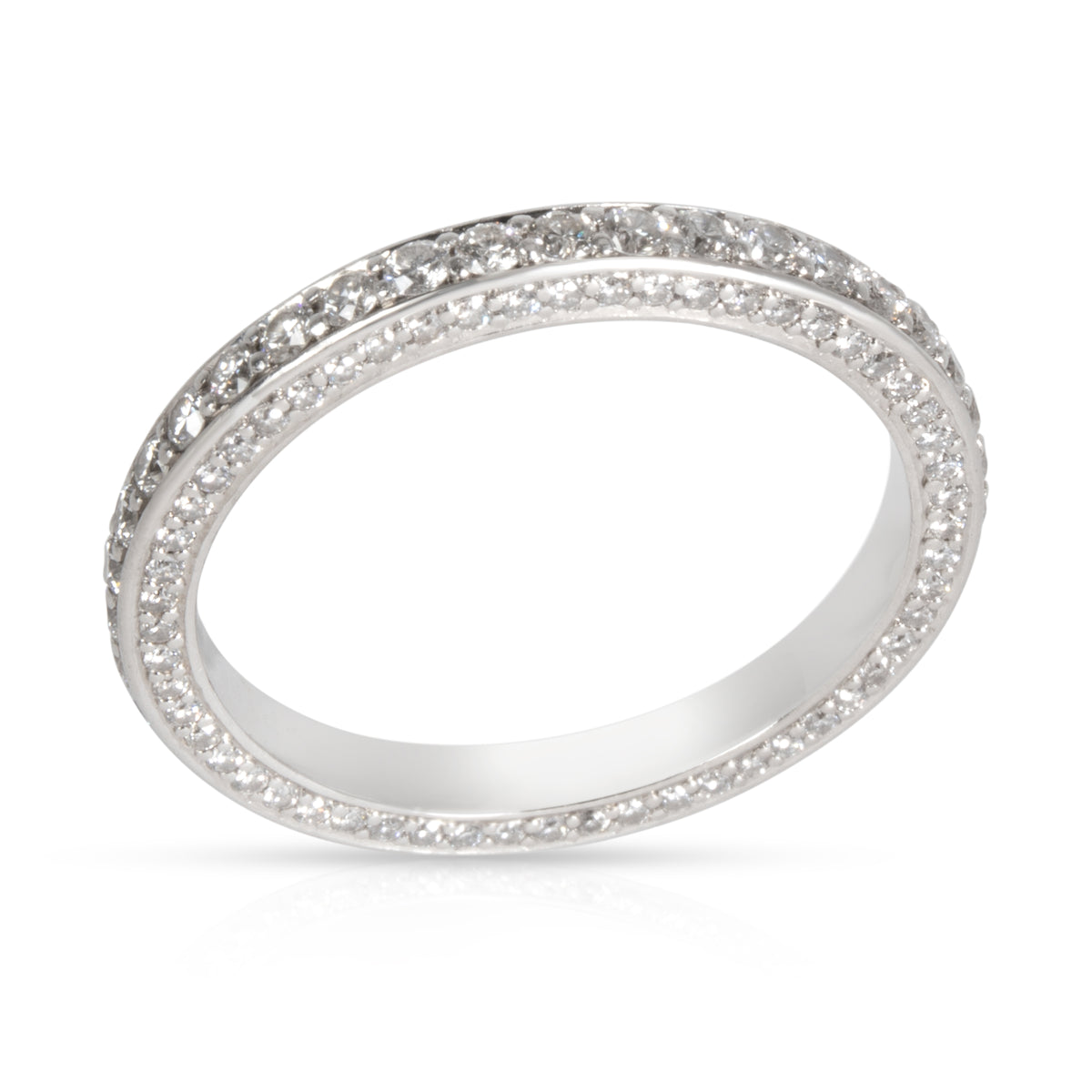 Blue Nile Micro-Pave 3 Sided Diamond Eternity Band in  Platinum 0.70 CTW