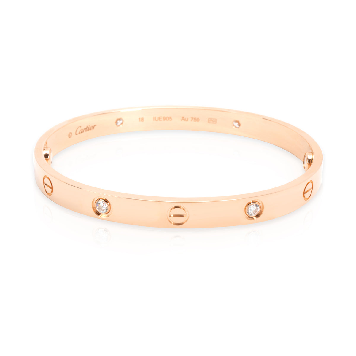 Cartier Love Diamond Bangle in 18K Rose Gold (Size 18)