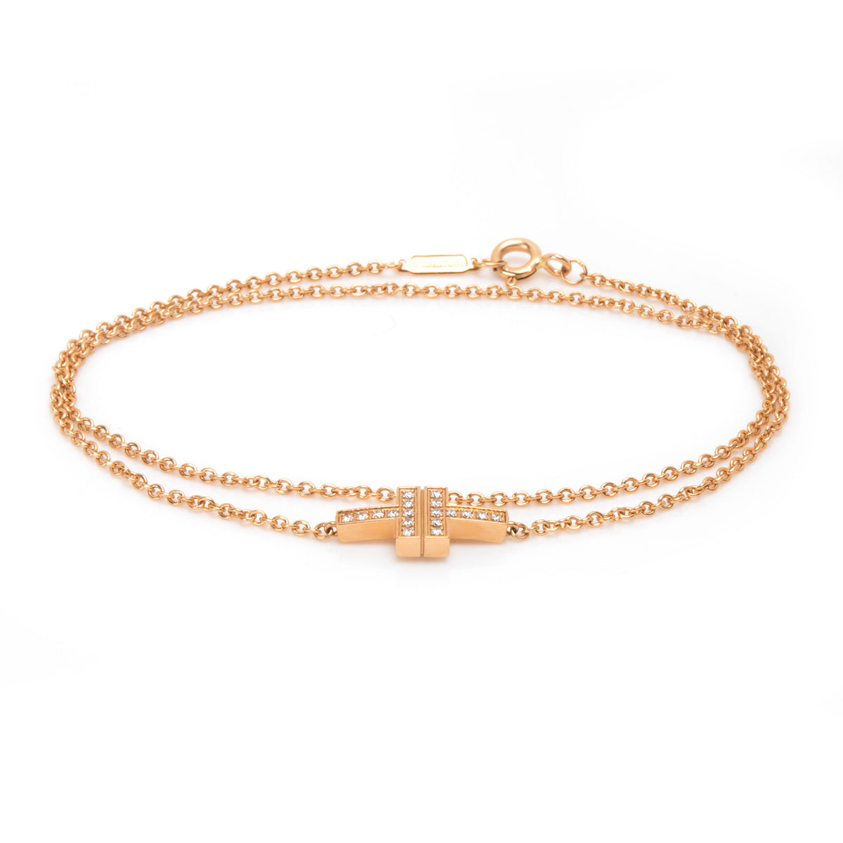 Tiffany & Co. T Two Double Chain Diamond Bracelet in 18K Rose Gold