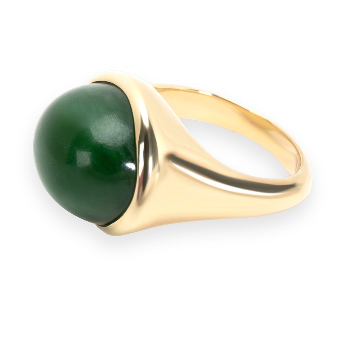 Tiffany & Co. Elsa Peretti Green Jade Cabochon Ring in 18K Yellow Gold