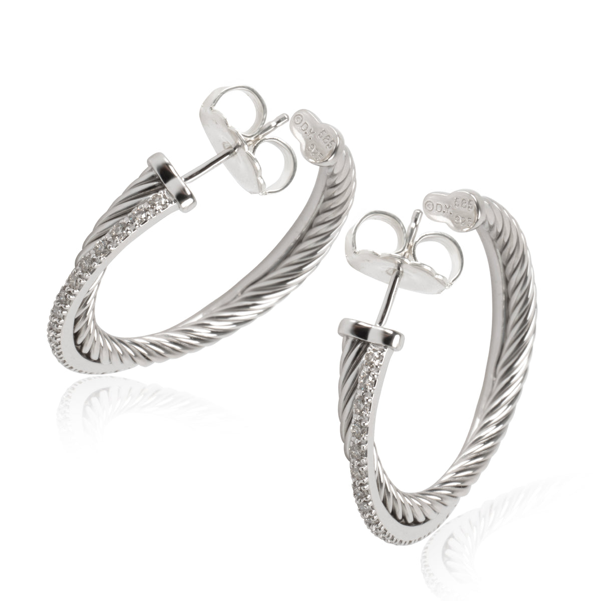 David Yurman Crossover Diamond Hoop Earrings 14K Gold & Sterling Silver 0.40 CTW