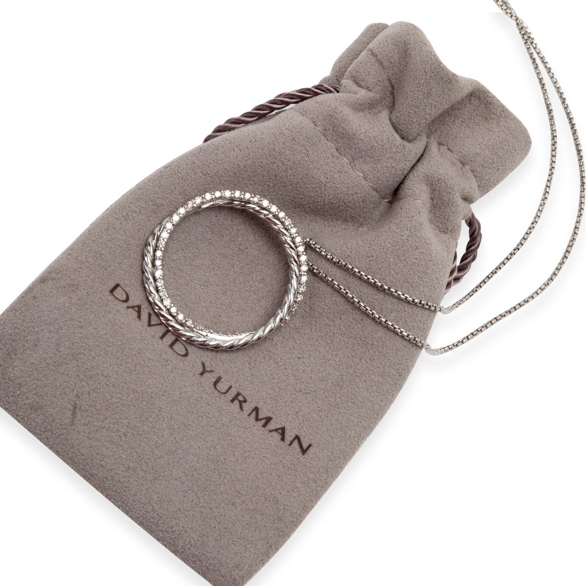 David Yurman Diamond Circle Pendant in 14K White Gold/Sterling Silver 0.4 CTW