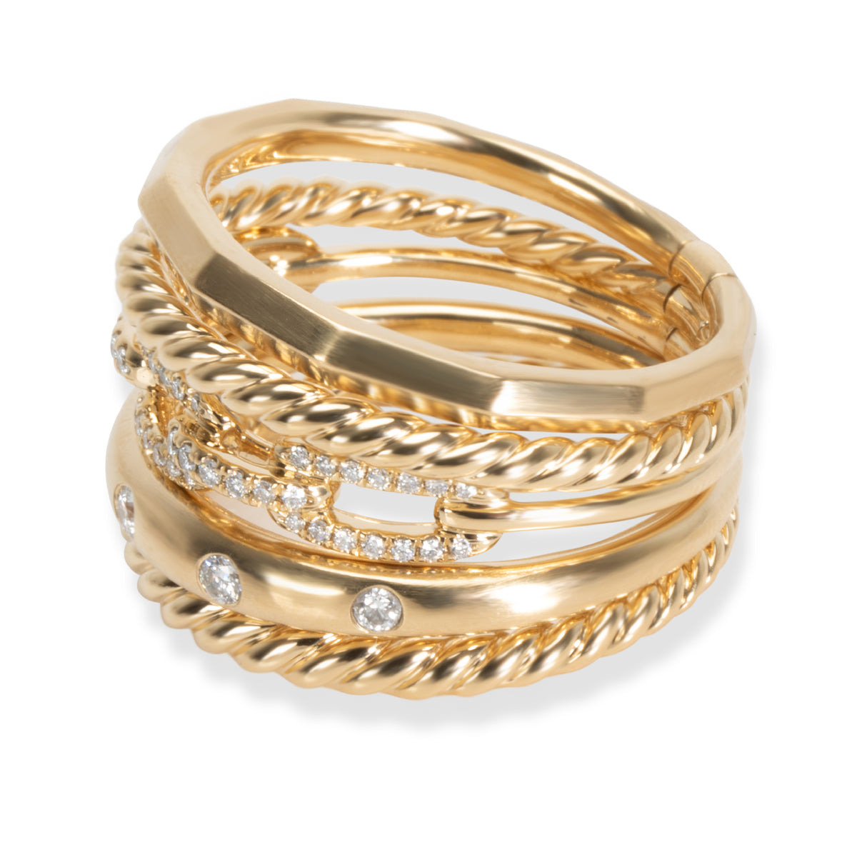 David Yurman Stax Diamond Ring in 18K Yellow Gold 0.26 CTW