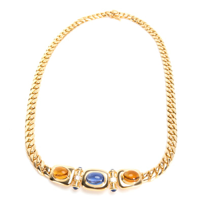 Bulgari Vintage Semi Precious Gemstones & Diamond Necklace in 18K Yellow Gold
