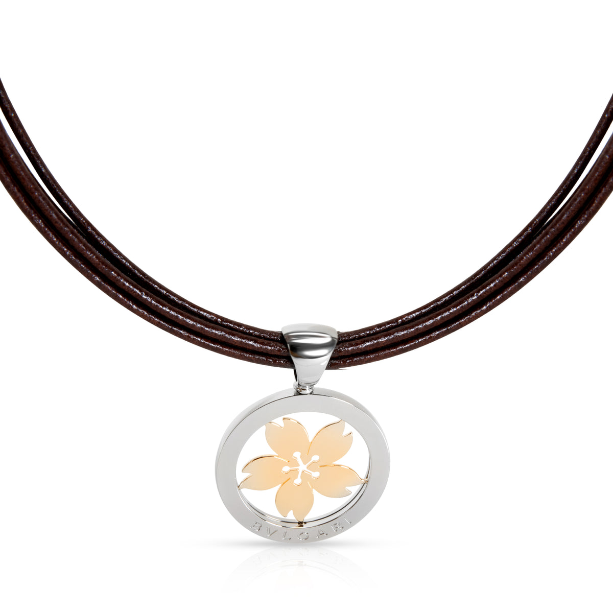 Bulgari Tondo Sakura Necklace in 18K Yellow Gold & Stainless Steel on Leather