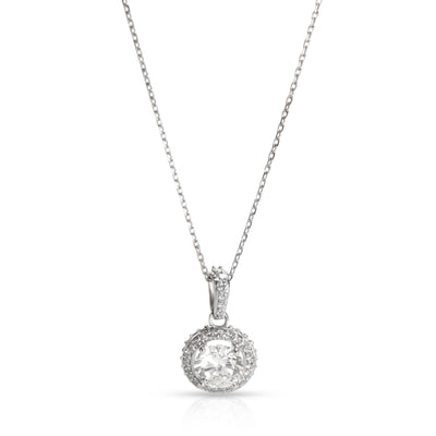 Diamond Halo Necklace in 14K White Gold F I1 (1.20 CTW)