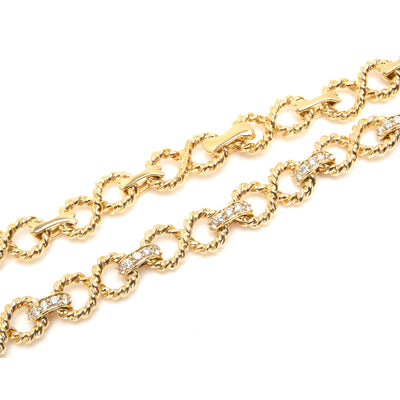 Tiffany & Co Vintage Twisted Rope Infinity Diamond Necklace in 18K Gold 1.50 ctw