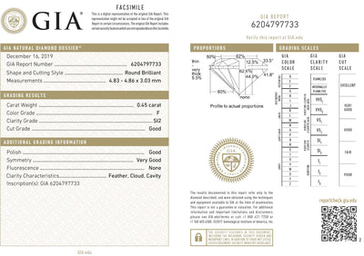 GIA Certified 0.45 Ct Round cut F SI2 Loose Diamond