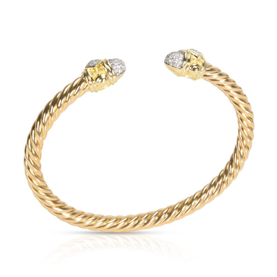 David Yurman Renaissance Diamond Cable Bangle in 18K Yellow Gold 0.33 CTW