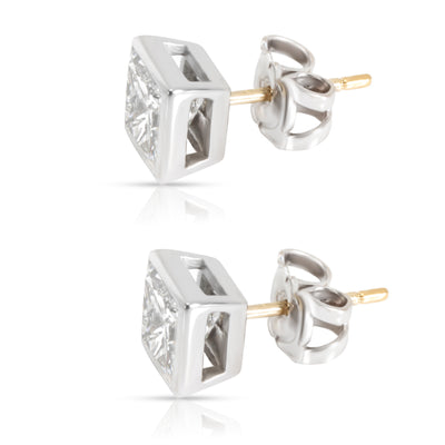 GIA Certified Princess Cut Bezel Diamond Studs in 18K White Gold 1.51 CTW G/VVS1