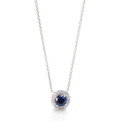 Tiffany & Co. Soleste Blue Sapphire & Diamond Halo Necklace in Platinum 0.40 ctw