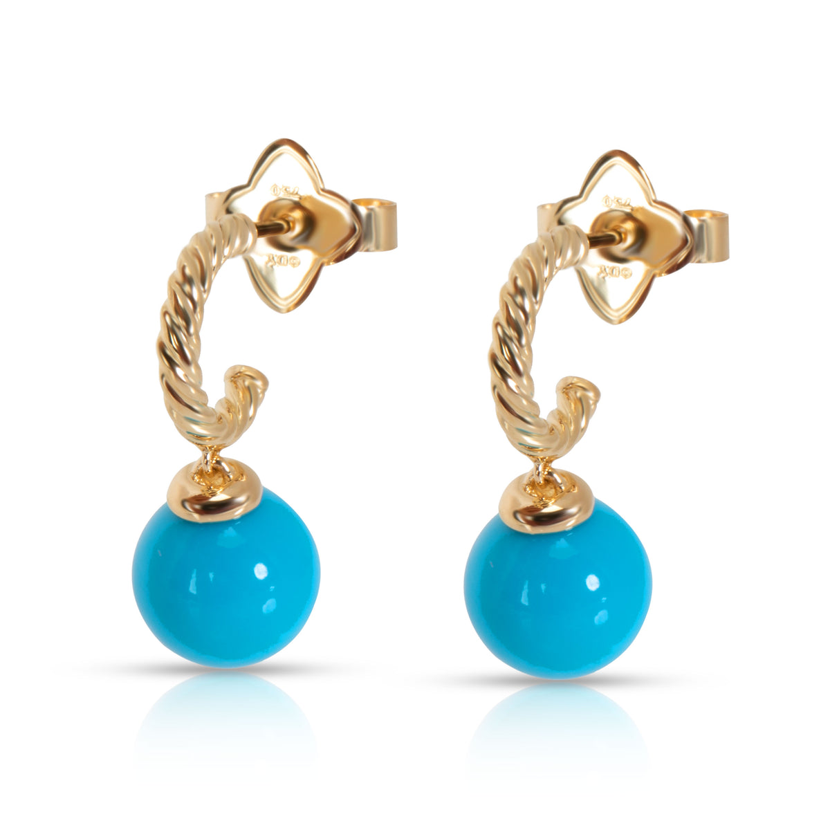 David Yurman Solari Turquoise Hoop Earrings in 18K Yellow Gold