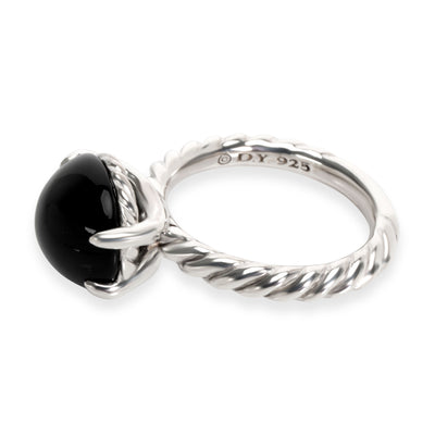 David Yurman Cabochon Onyx Cable Ring in Sterling Silver