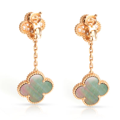 Van Cleef & Arpels Magic Alhambra 2 Motif Diamond Earrings in 18K Rose Gold