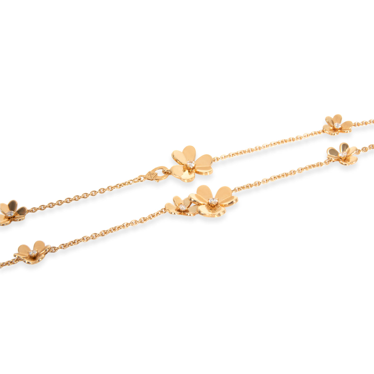 Van Cleef & Arpels Frivole 9 Flowers Diamond Necklace in 18K Yellow Gold 0.61ctw