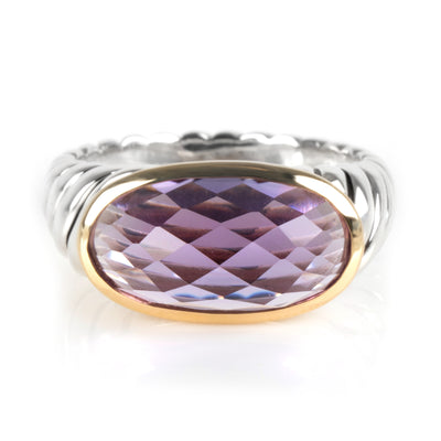 David Yurman Dante Amethyst Cable Ring in 18K Yellow Gold/Sterling Silver