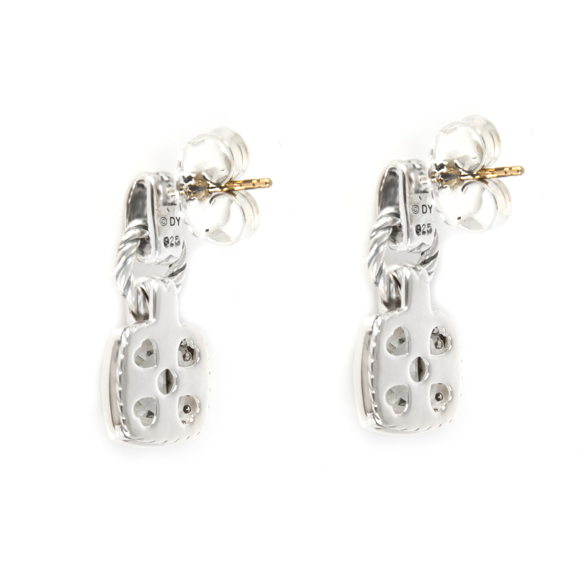 David Yurman Renaissance Prasiolite Diamond Earrings in Sterling Silver