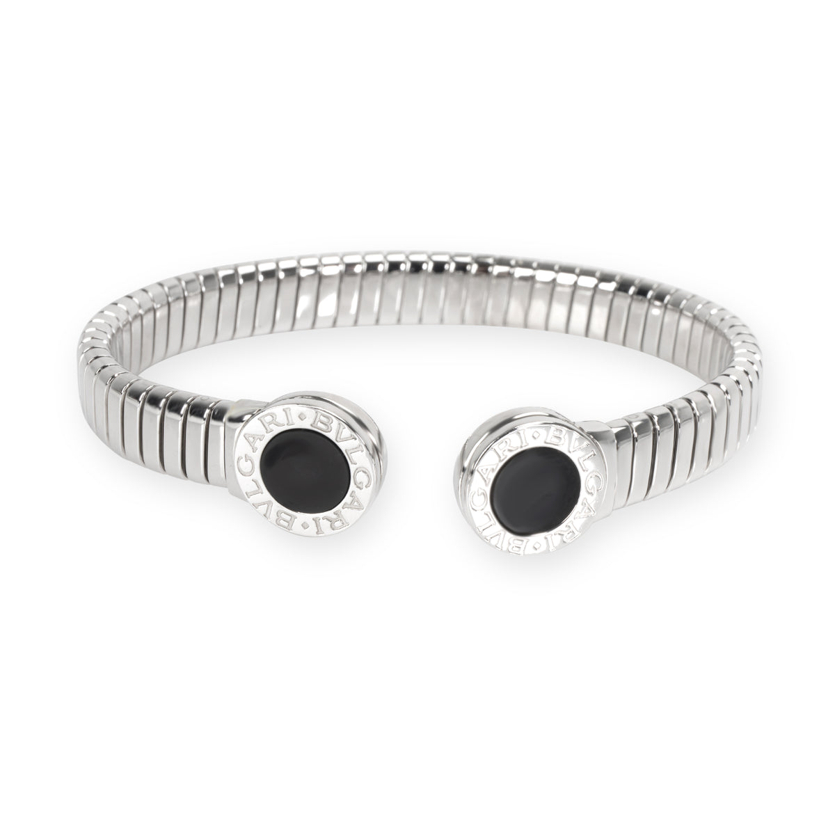 Bulgari Tubogas Onyx Cuff Bangle in Stainless Steel