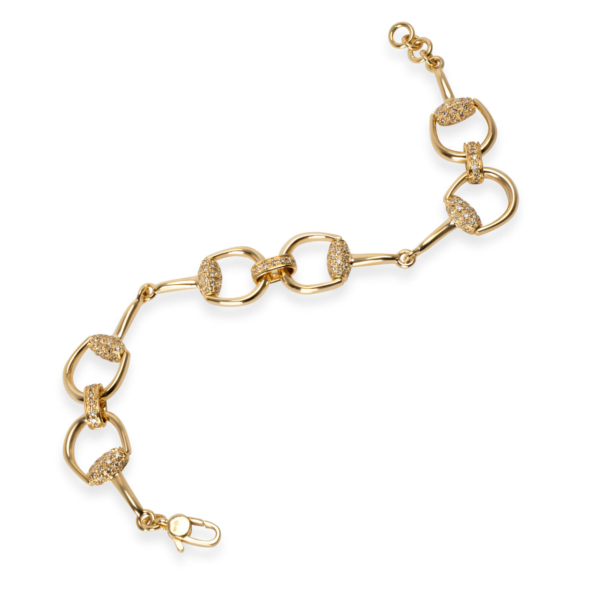 Gucci Horsebit Diamond  Bracelet in 18K Yellow Gold 1.04 CTW