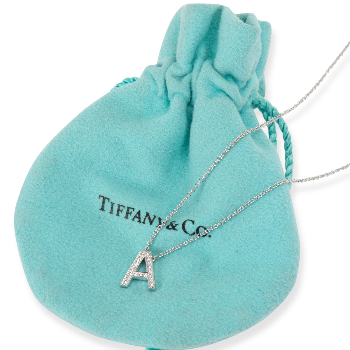 Tiffany & Co. Diamond Initial A Necklace in  Platinum 0.10 CTW
