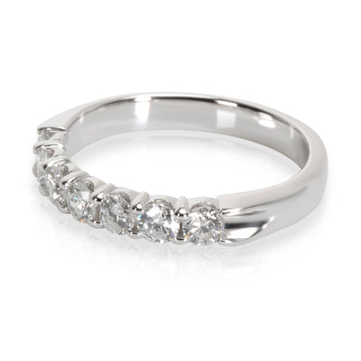 7 Stone Diamond Wedding Band in 14KT White Gold 0.56 CTW