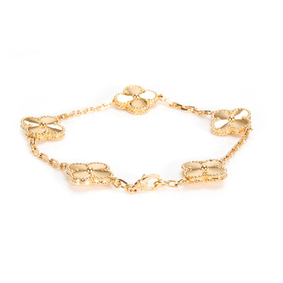 Van Cleef & Arpels Alhambra 5 Motifs Guilloche Bracelet in 18KT Yellow Gold
