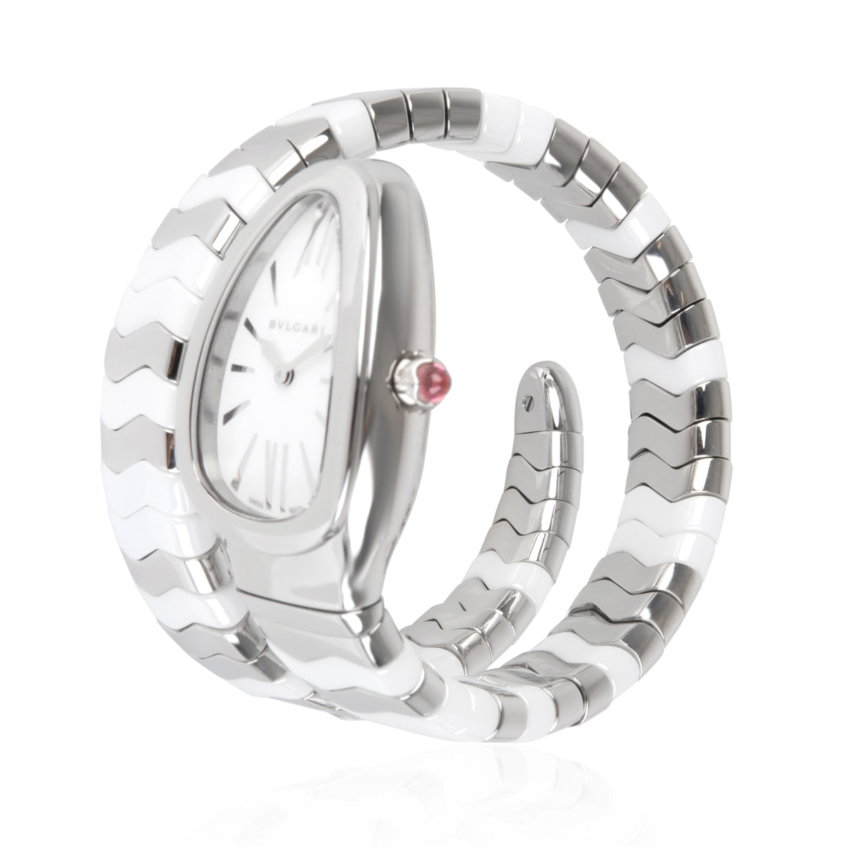Bulgari Serpenti Spiga SP35S Women's Watch in  Stainless Steel/Ceramic