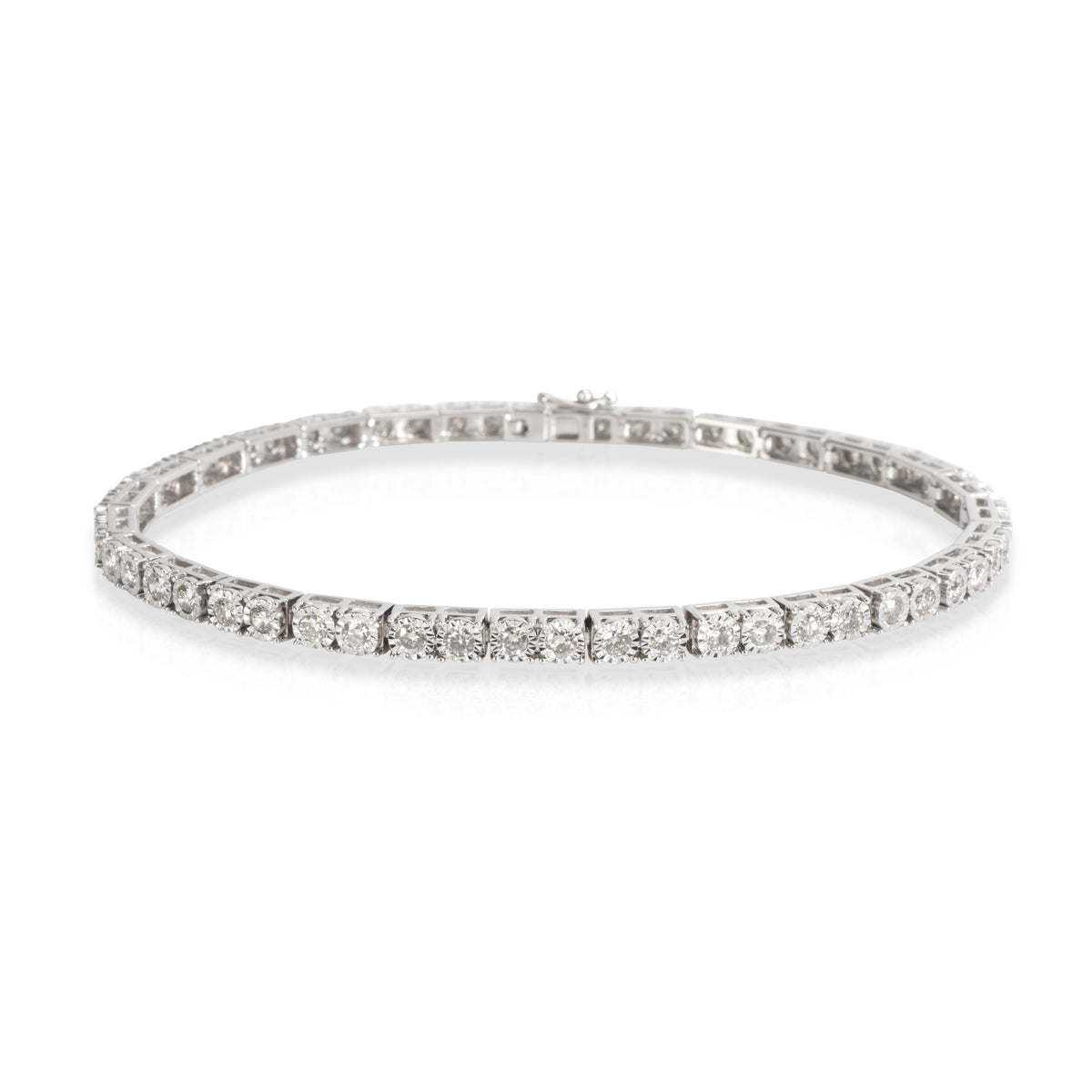 Miracle Set Diamond Tennis Bracelet in 10KT White Gold 1.71 CTW