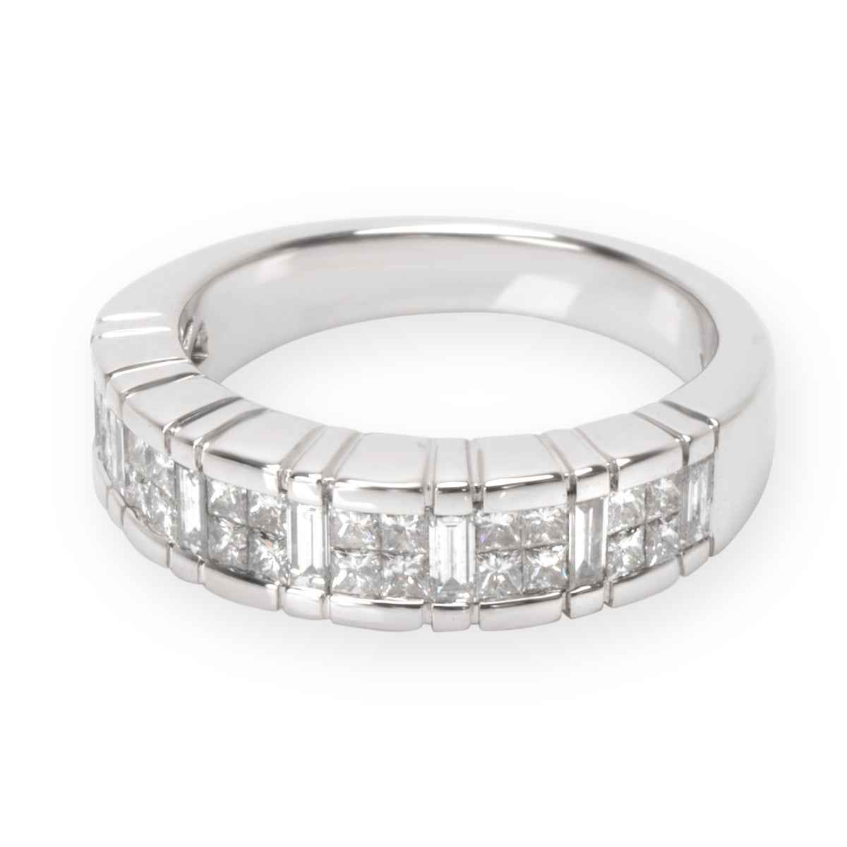 Princess & Baguette Diamond Band in 18K White Gold 0.81 CTW