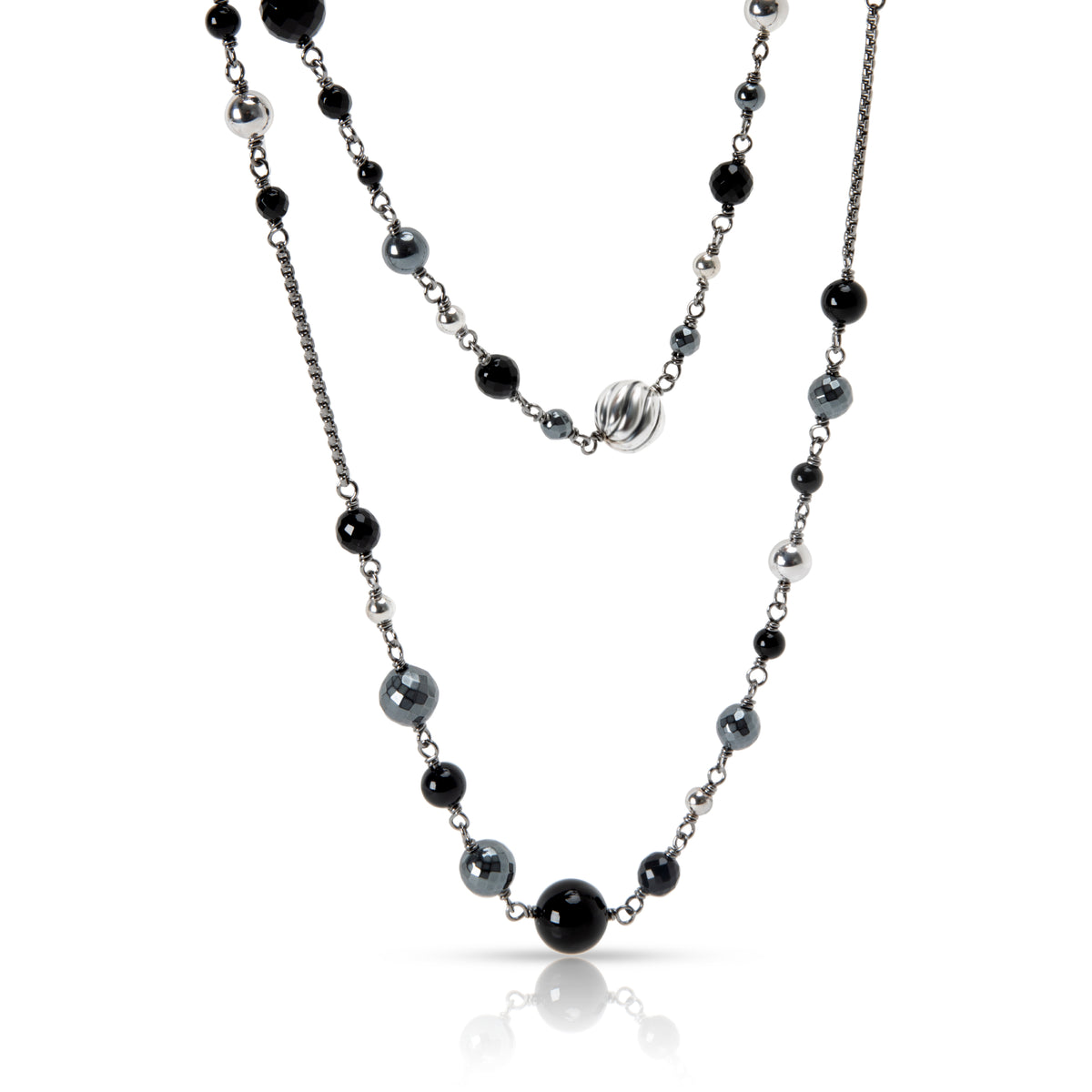 David Yurman  Bijoux Bead with Black Onyx & Hematite Necklace in Sterling Silver