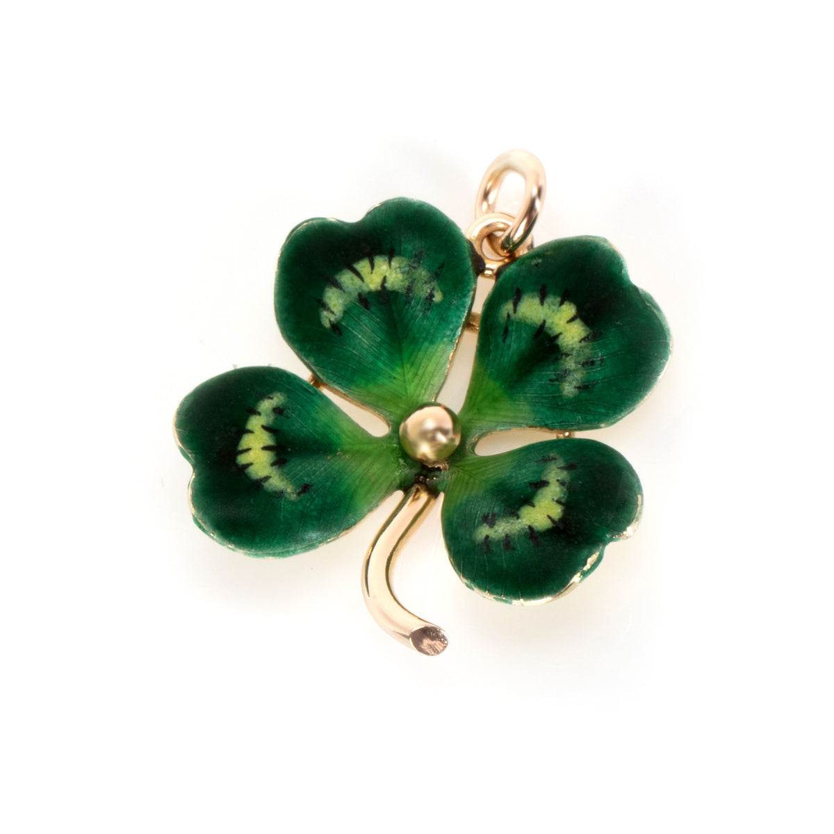 Vintage Four Leaf Clover Lucky Charm in 14K Yellow Gold