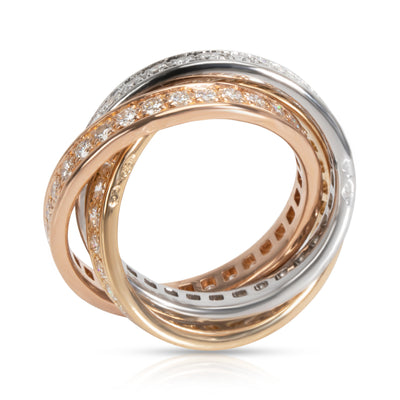 Cartier Trinity Diamond Band in 18K 3 Tone Gold 1.55 CTW