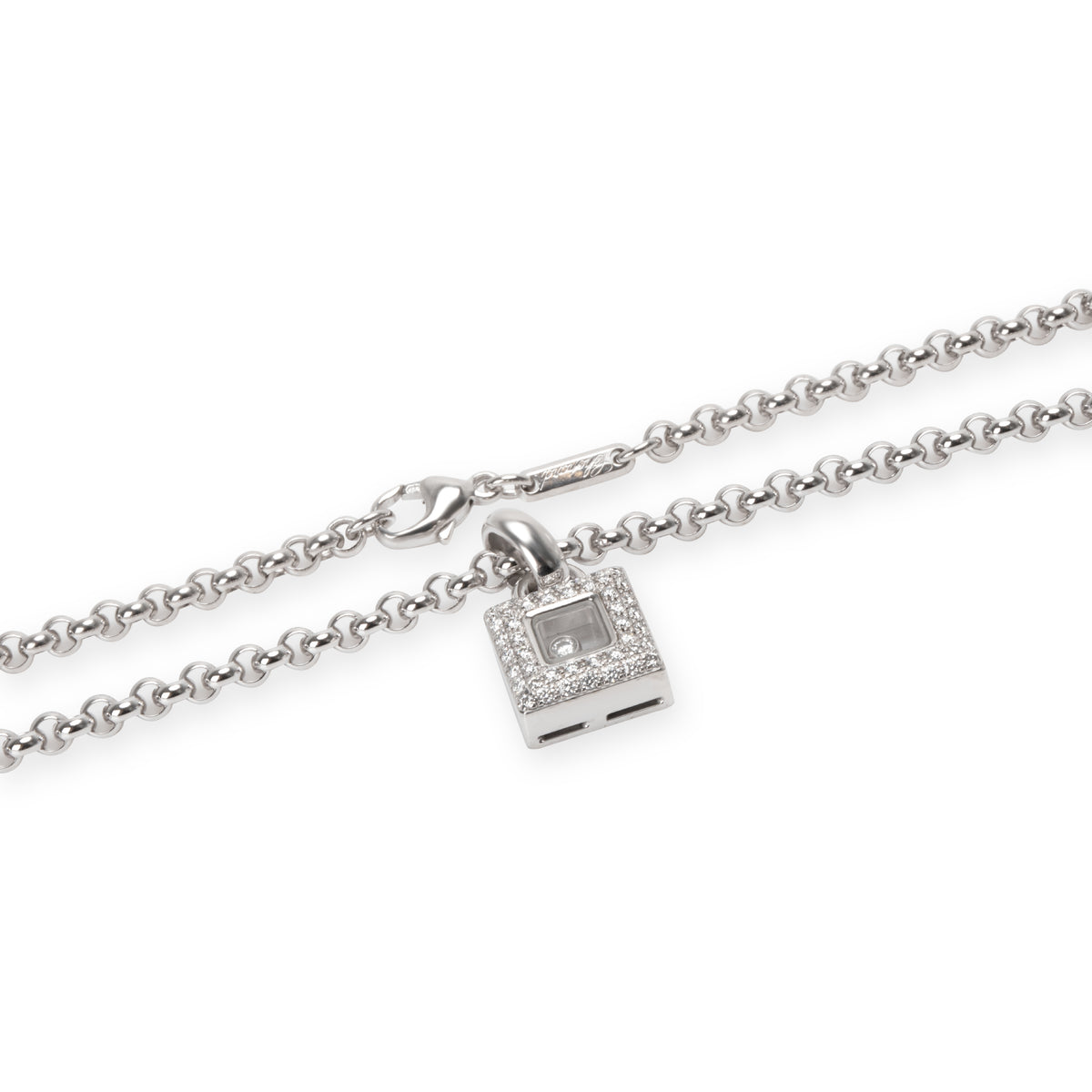 Chopard Happy Diamonds Square Necklace in 18K White Gold 0.50 CTW
