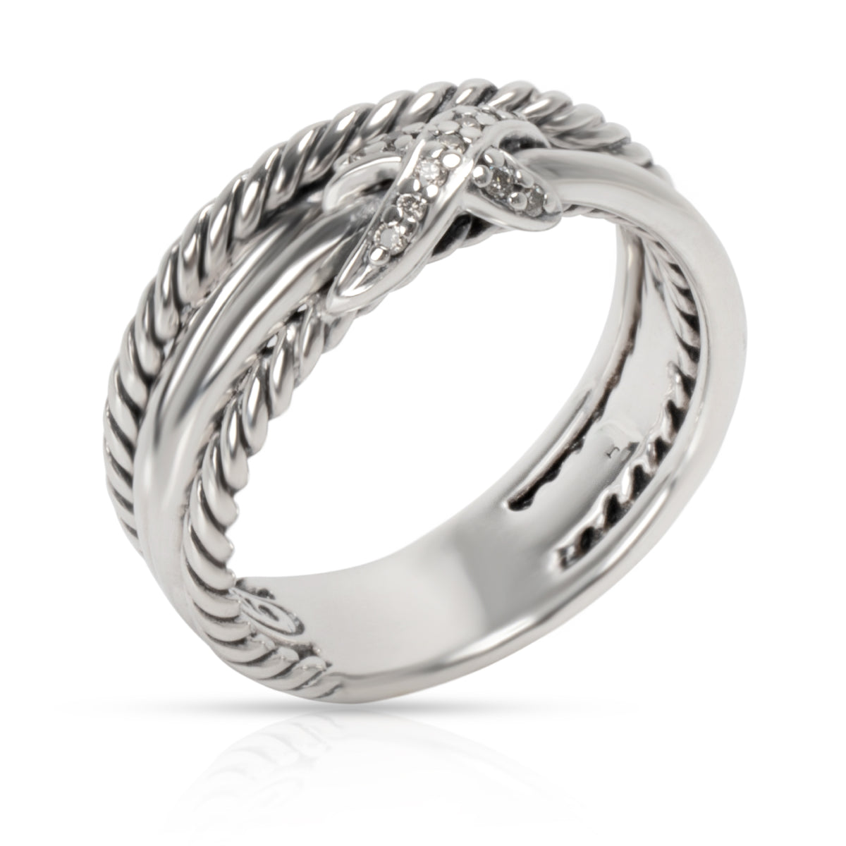 David Yurman X Crossover Diamond Ring in  Sterling Silver 0.04 CTW