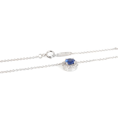Tiffany & Co. Soleste Sapphire Halo Diamond Necklace in  Platinum 0.14 Ctw